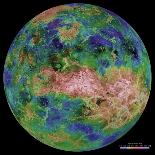 Hemispheric View of Venus Centered at the North Pole