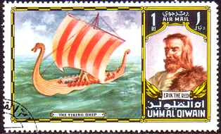 Erik the Red Haired and Viking Ship with Red Sails...