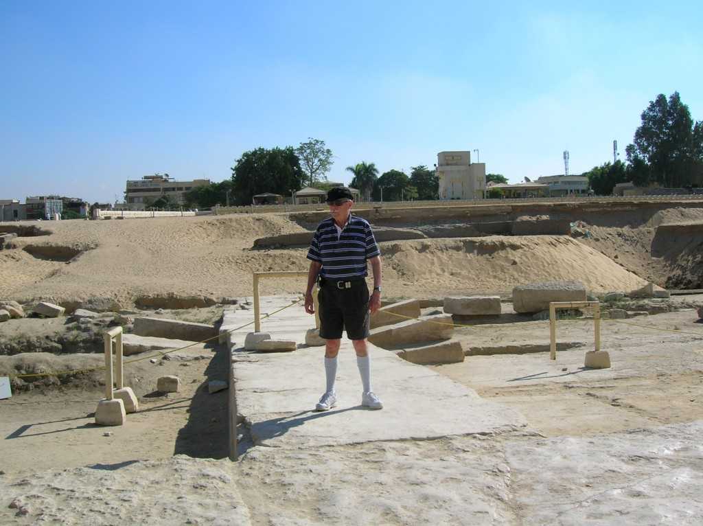 John Barrow standing on a  landing wharf where the Nile River once flowed past the temple entrance to the Sphinx