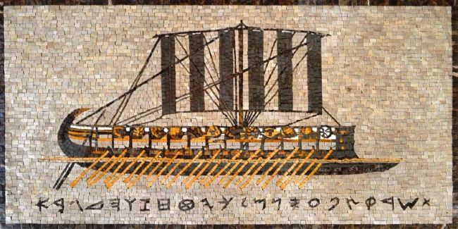 Marble Mosaic of Phonecian sailing vessel