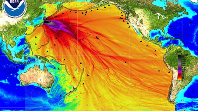 Chart showing the extent of radiation from Fukushima disaster